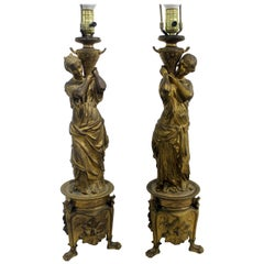 Pair of 19th Century French Bronze Figural Lamps