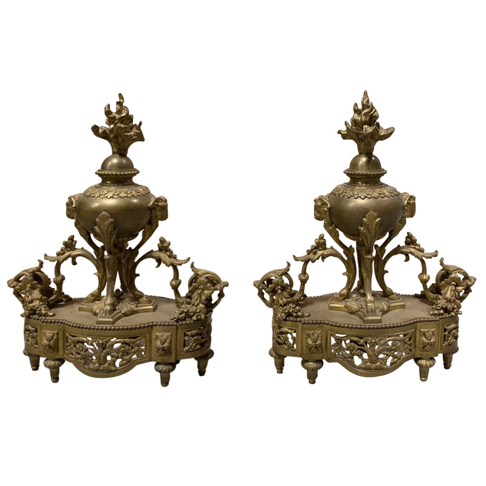 Pair of 19th Century French Bronze Fireplace Chenets