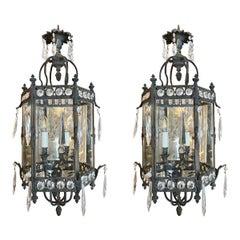 Pair of 19th Century French Bronze Lanterns