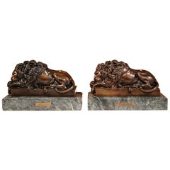 Pair of 19th Century French Bronze Lions Bookends on Marble Signed J. Moigniez