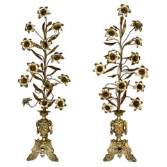 Pair of 19th Century French Bronze Mantel Bouquets of Lilies