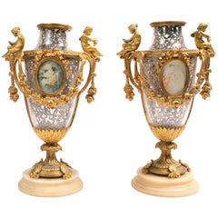 Pair of 19th Century French Bronze Mounted Urns