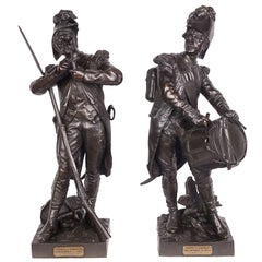 Pair of 19th Century French Bronze Soldiers, by Etienne-Henri Dumaige