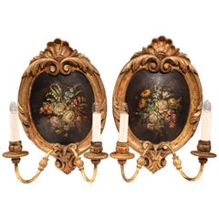 Pair of 19th Century French Carved Gilt Sconces with Painted Floral Medallions