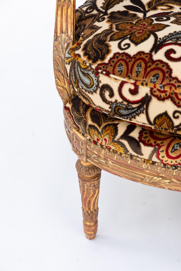 Pair of 19th Century French Carved Giltwood Armchairs For Sale 1