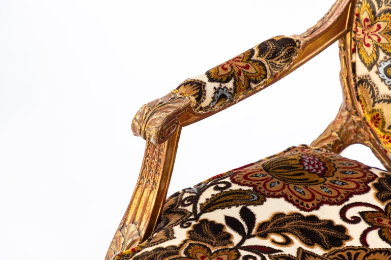 Pair of 19th Century French Carved Giltwood Armchairs For Sale 2