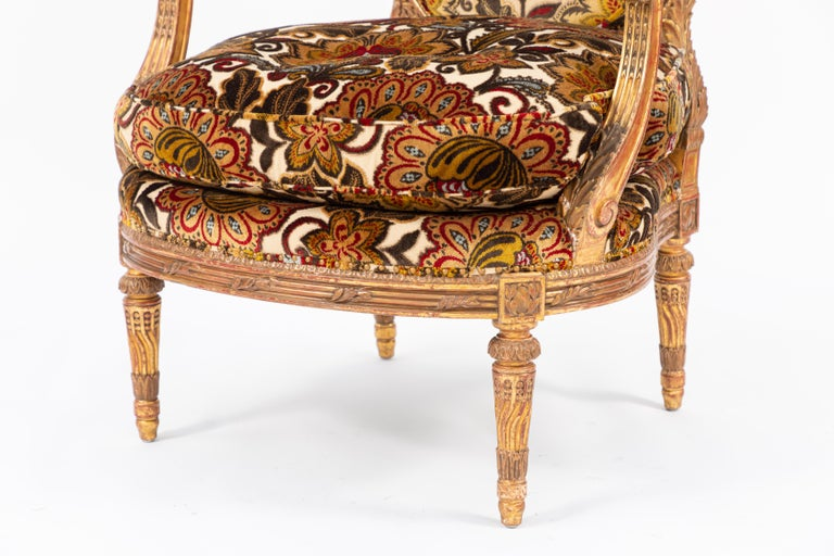 Pair of 19th Century French Carved Giltwood Armchairs For Sale 5