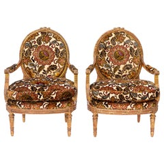 Pair of 19th Century French Carved Giltwood Armchairs