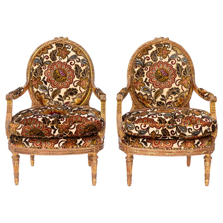 Pair of 19th Century French Carved Giltwood Armchairs For Sale
