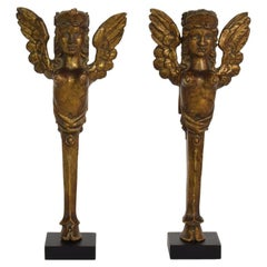 Pair of 19th Century French Carved Giltwood Neoclassical Ornaments