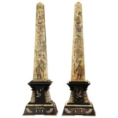 Pair of 19th Century French Carved Green Onyx, Marble and Brass Obelisks