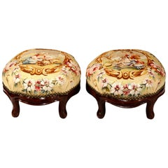 Pair of 19th Century, French, Carved Mahogany Foot Stools with Aubusson Tapestry