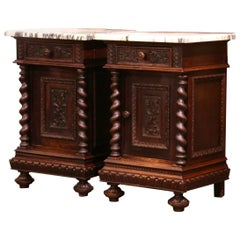 Pair of 19th Century French Carved Oak Nightstands with Marble Top