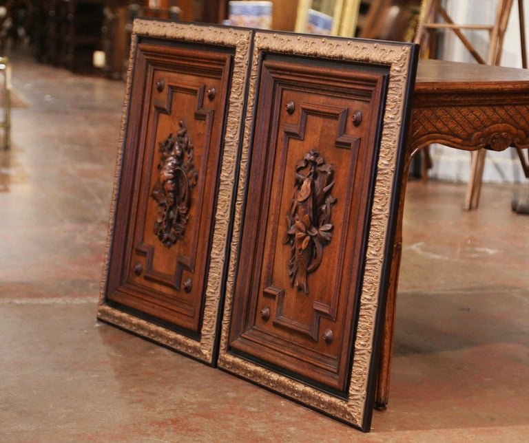 Pair of 19th Century French Carved Oak Wall Door Panels in Gilt Frames For Sale 5