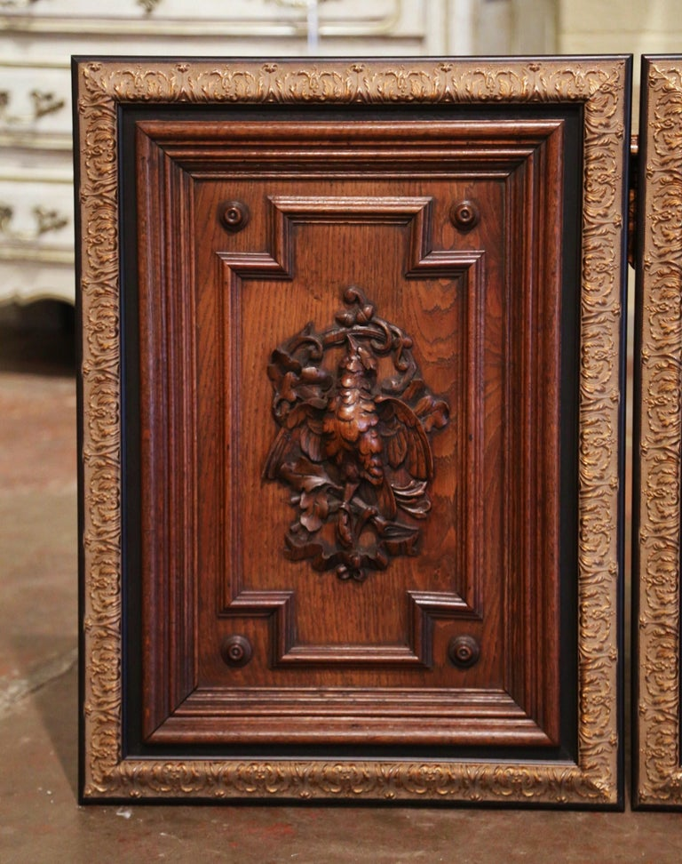 Napoleon III Pair of 19th Century French Carved Oak Wall Door Panels in Gilt Frames For Sale