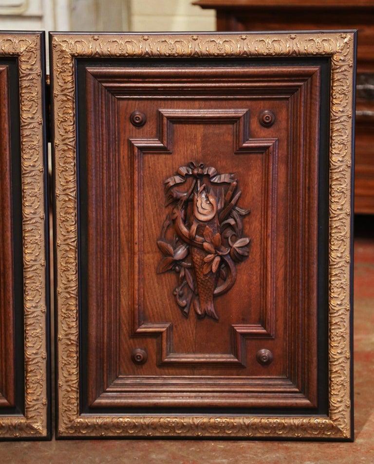 Hand-Carved Pair of 19th Century French Carved Oak Wall Door Panels in Gilt Frames For Sale