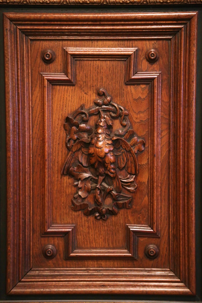 Pair of 19th Century French Carved Oak Wall Door Panels in Gilt Frames For Sale 1