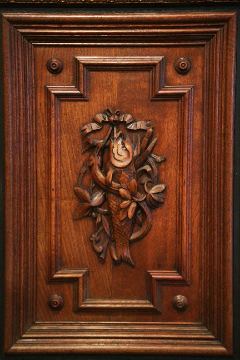 Pair of 19th Century French Carved Oak Wall Door Panels in Gilt Frames For Sale 2