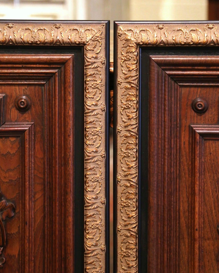 Pair of 19th Century French Carved Oak Wall Door Panels in Gilt Frames For Sale 3