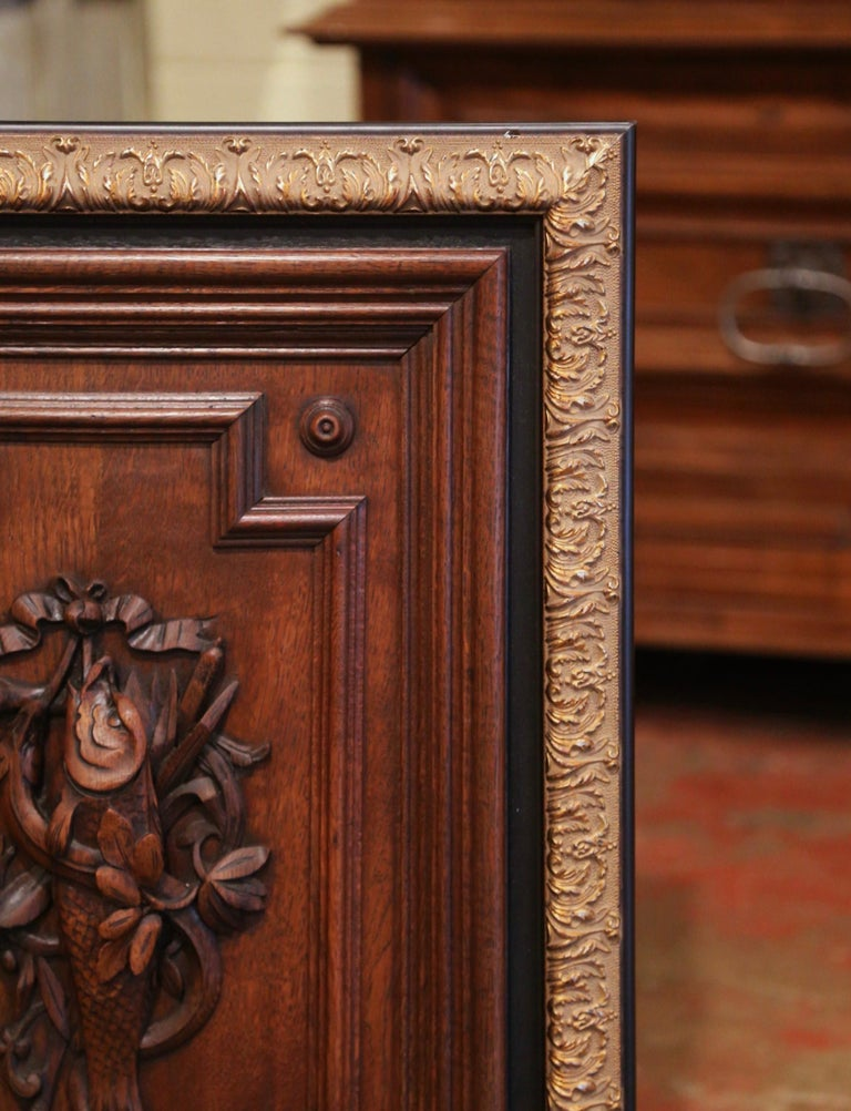 Pair of 19th Century French Carved Oak Wall Door Panels in Gilt Frames For Sale 4