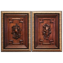 Pair of 19th Century French Carved Oak Wall Door Panels in Gilt Frames