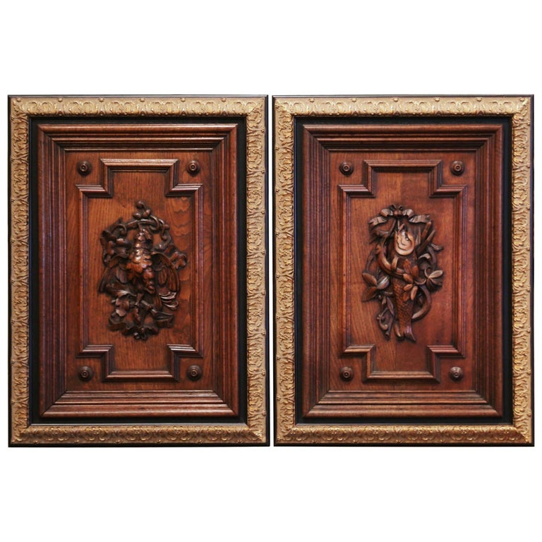 Pair of 19th Century French Carved Oak Wall Door Panels in Gilt Frames For Sale