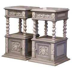 Pair of 19th Century French Carved Painted Nightstands with Marble Top