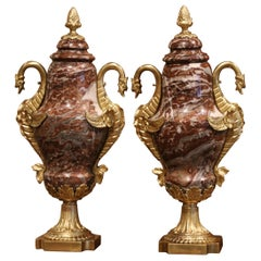 Pair of 19th Century French Carved Red Marble and Gilt Bronze Cassolettes Urns
