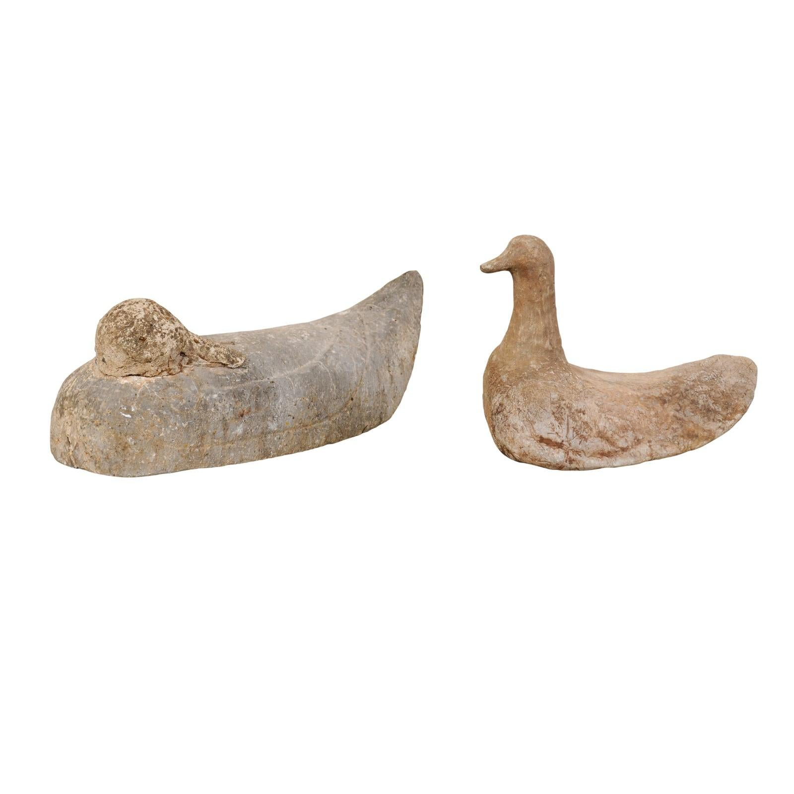 Pair of 19th Century French Carved Stone Ducks