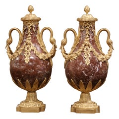 Pair of 19th Century French Carved Variegated Marble and Gilt Bronze Cassolettes