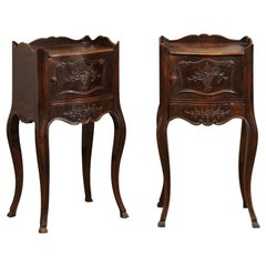 Pair of 19th Century French Carved Walnut Bedside Tables with Doors and Drawers