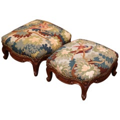 Pair of 19th Century French Carved Walnut Stools with Antique Aubusson Tapestry
