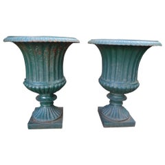 Pair of 19th Century French Cast Iron Campana Urns