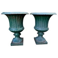 Pair of 19th Century French Cast Iron Campana Urns
