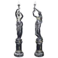 Pair of 19th Century French Cast Iron Figural Candelabra