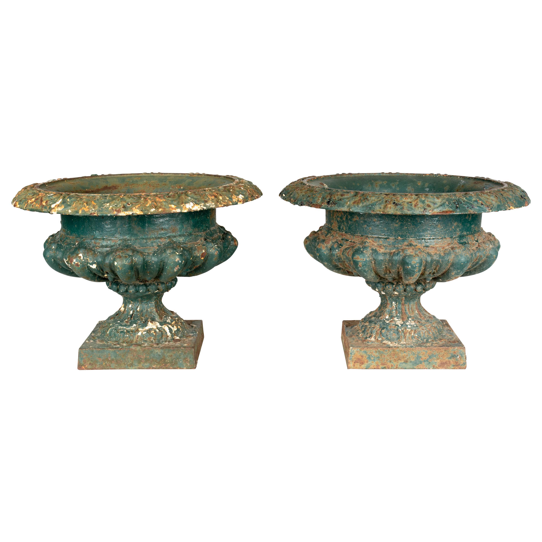 Pair of 19th Century French Cast Iron Garden Urns