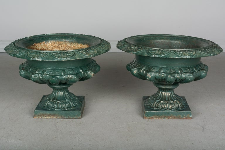 French Provincial Pair of 19th Century French Cast Iron Urns For Sale
