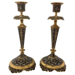 Pair of 19th Century French Champleve Enamel Candlesticks
