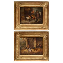 Pair of 19th Century French Chicken Oil on Board Paintings in Gilt Frame