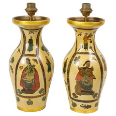 Pair of 19th Century French Chinoiserie Decoupaged Lamps