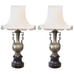 Pair of 19th Century French Chinoiserie Lamps with Slate Bases