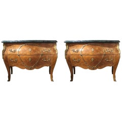 Pair of 19th Century French Commodes, Marble Top in Verde, Bombe-Form circa 1890