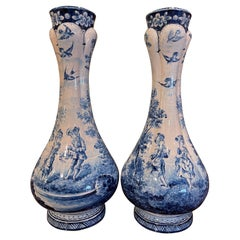 Pair of 19th Century French Delft Style Faience Vases with Blue and White Decor
