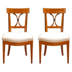 Pair of 19th Century French Directoire Style Cherrywood Chairs