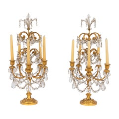 Pair of 19th Century French Doré Bronze and Rock Crystal Girandoles