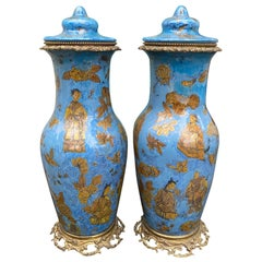 Pair of 19th Century French Églomisé Chinoiserie Covered Vases, Bronze Mounts