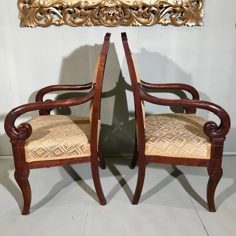 Pair of 19th Century French Empire Armchairs Fully Reupholstered For Sale 4