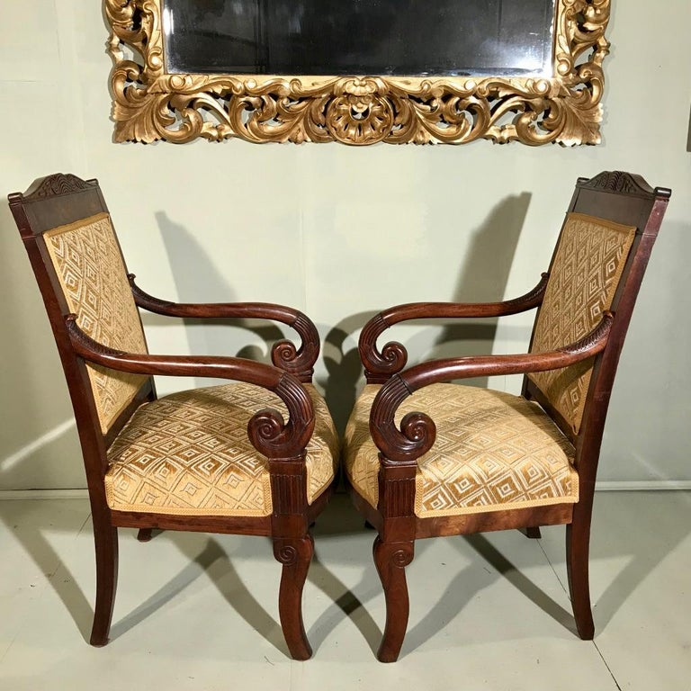 Pair of 19th Century French Empire Armchairs Fully Reupholstered For Sale 5