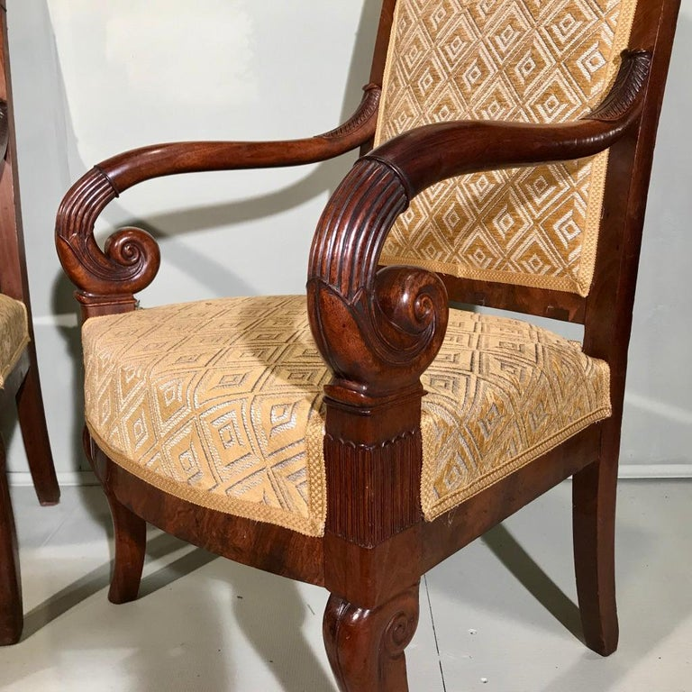 Very nice quality pair of French mahogany Empire period armchairs, circa 1840.