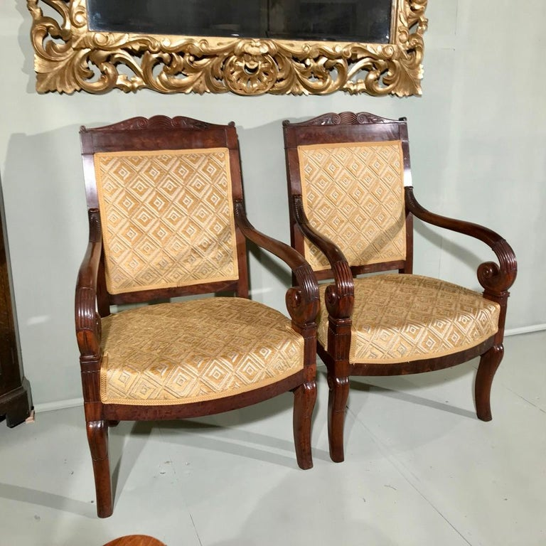 Hand-Carved Pair of 19th Century French Empire Armchairs Fully Reupholstered For Sale
